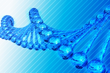 blue backgrounds: 3D Render - DNA Chain Illustration. Blue Striped Background.