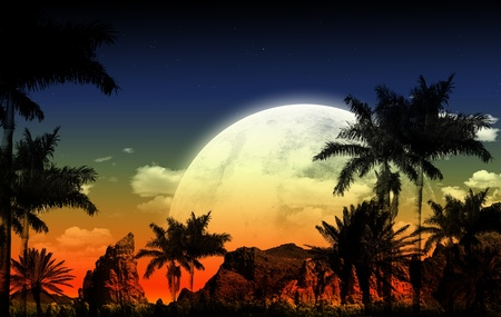 African Night Illustration with Huge Full Moon, Palm Shapes and Some Rocks-Mountains. This is Abstract Illustration. illustration