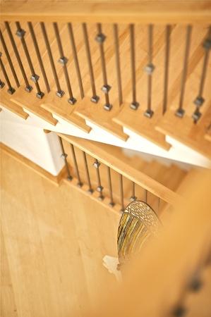 Elegant Wood Stairs. Home Interior. photo