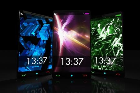 3g: Tree Black Touch Screen Cellphones. 3D Render Illustration. Black Background. Stock Photo