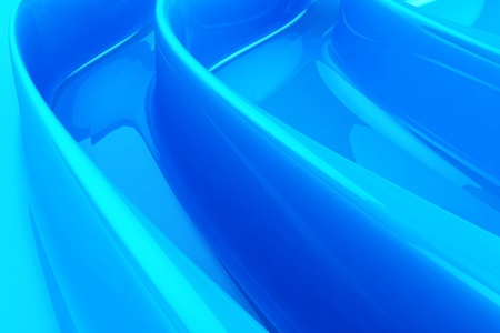 Cool Blue Glossy Folded Background. 3D Render Abstract Illustration. Фото со стока