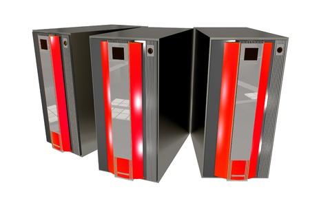 赤の要素を持つ 3 つの現代サーバー コンピューター。3 D レンダリング サーバーの図