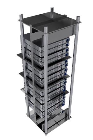 network server: Silver Servers Rack - Hosting illustration. Modern Servers on the Rack