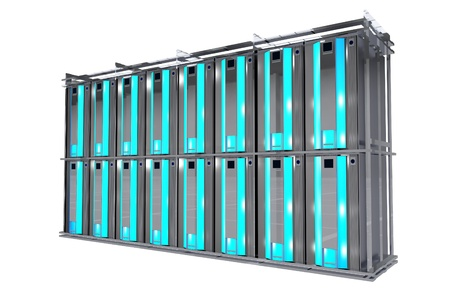 dedicated: Servers Rack Isolated on White. Cool Modern Hosting Rack