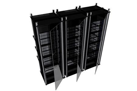 BLack Modern Server Racks Isolated on White.