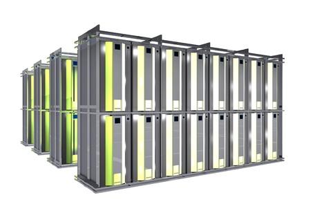 pc: Hosting Room - Server Racks Isolated on White. Stock Photo