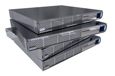 4 つの近代的なサーバー コンピューターを白で隔離されます。