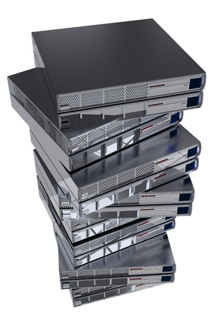 Servers Stock Pile. Few Server Machines on Top of Each Other. Servers Isolated on White.