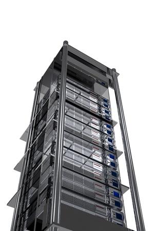 Servers Tower - Modern Metallic Server Rack Isolated on White.