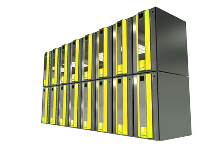 Yellow Server Machines Isolated on White. Hosting Illustration