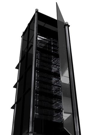 Hosting Tower  Rack. Modern Dark Black Servers Rack with Glass Door
