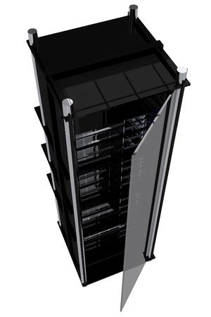 MOdern Servers Rack - Black Hosting Rack with Glass Door. Many Servers Inside.