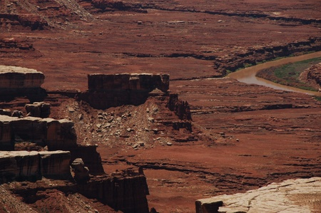canyonland: Utah Canyon Lands. Canyonlands State Park. Utah, USA. Rocky Desert Landscape with Colorado River on the Bottom.