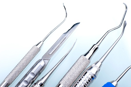 doctors tools: Stainless Dental Tools - Stainless Steel Dental Equipment Closeup Stock Photo