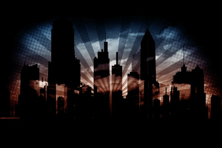 Dark Urban Background - Dark Cityscape with Rays. Grunge Background. Stock Photo - 12787039
