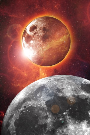 Nibiru - Planet X and Our Moon Abstract Vertical Design. Red Glowing Space Background.  photo