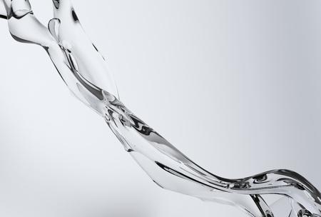 워터 스플래쉬 추상 3D 배경입니다. 수정 같이 맑은 물이 흐르는