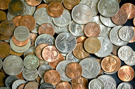 american dollar: American Dollar Coins Top View Photo. Dollar Coins Background