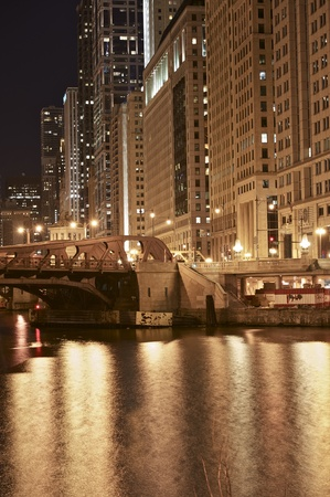Chicago Golden Night - Wacker Drive and Chicago River. Chicago Downtown at Night. Vertical Photography. Stock Photo - 12789847