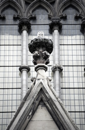 Gothic Cathedral Church of St. James Close-Up Elements of the Structure. Vertical Photography. Upper Part of the Cathedral Church Entrance. Toronto, Canada Stock Photo - 12788956