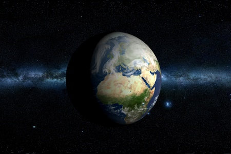 galactic center: Planet Earth & Milky Way Horizontal 3D Illustration. Africa and Europe.
