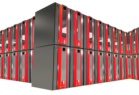 Red Servers Racks Isolated on Solid White Background. Hosting and Networking Theme. photo