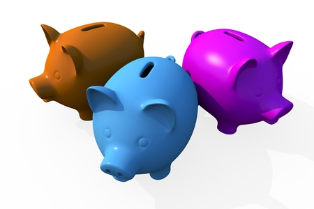 Triple Savings - Pigs Banks Isolated on White. Triple Savings Theme. Three Ceramic 3D Rendered Pigs in Different Colors. photo
