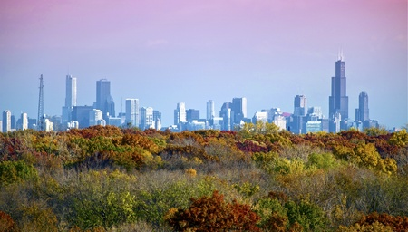 Chicago Skyline with Colorful Trees Below. Photo taken from about 17 miles. photo