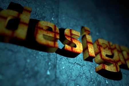 dof: Abstract 3D Design Theme with DOF (Depth of Field) Orange-Red Letters Texture and Blue Cracked Stone Like Background. Stock Photo