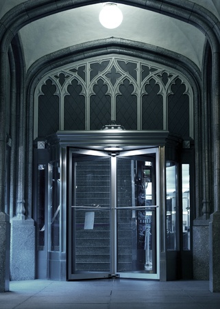 rotating: The Entrance - Chicago Architecture. Entrance with Glass Rotating Door. The Entrance - Vertical Photography.
