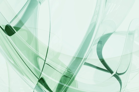 Abstract Glass Shapes - Glassy Green 3D Rendered Horizontal Background