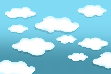 clouds: Cartoon Clouds Background Illustration  Horizontal Design of Cartoon Clouds on Light Blue Sky  Stock Photo