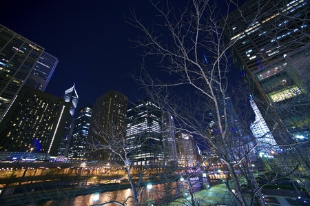 Cityscape at Night - Downtown Chicago, Illinois, United States of America  Chicago After Dark  Chicago River