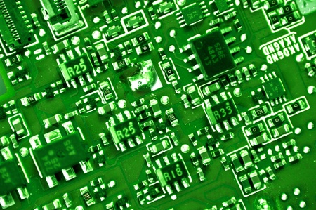 Printed Circuit Macro Photo  Printed Circuit Green Technology Background photo