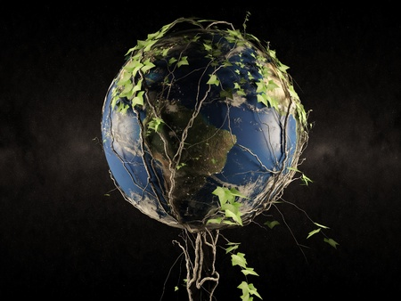 overgrown: Earth After People  Planet Earth Overgrown by Ivy - Dark Space in the Background  3D Abstract Illustration