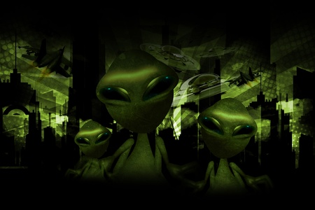 invasion: Aliens Invasion Dark Green Theme  Funny Aliens, UFOs and Jet Fighters on the Sky  Cool Aliens Design Stock Photo