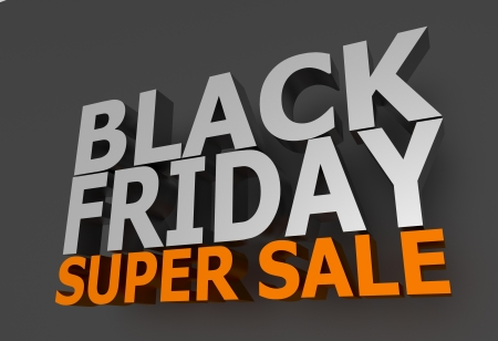 Black Friday Super Sale 3D Lettering on Dark Gray Background. Orange Super Sale Letters. 3D Rendered Illustration. Stock Illustration - 12788717