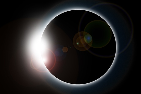 horizontal: Solar Eclipse Illustration - Horizontal Sun Eclipse Illustration.