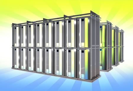 virtualization: Virtual Servers on Large Racks. Hosting Theme. 3D Rendered Illustration.