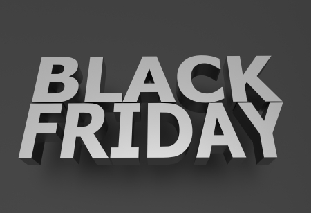 grayscale: Black Friday - Marketing Illustration. 3D Rendered Black Friday in Grayscale Stock Photo