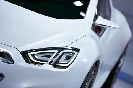 White Concept Car with LED Headlights. Future of Transportation. Cars Photo Collection. Stock Photo - 12789830