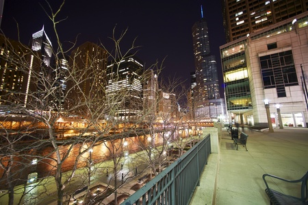 Chicago Riverwalk at Night. Chicago, USA. March 2012 Wide Angle Photography. Downtown Chicago at Night. Stock Photo - 12789675