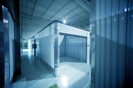 Open Storage Unit. Climate Controlled Modern Storage Warehouse - Storage Facility Interior. Unit for Rent-Lease. Business Photo Collection Stock Photo - 12789839
