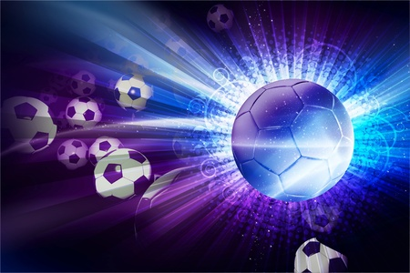 Euro Football / Soccer Theme. 3D Generated Soccer Theme with Soccer Balls. European Football Stock Photo - 12788169