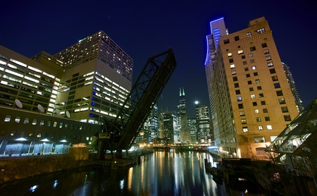 city lights chicago downtown chicago night time photography