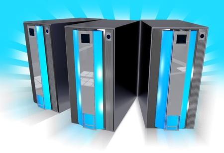 virtualizacion: Tres servidores de color azul con fondo azul con rayos de luz. Dictada en 3D Tres Ilustraci�n Servidores - Horizontal.