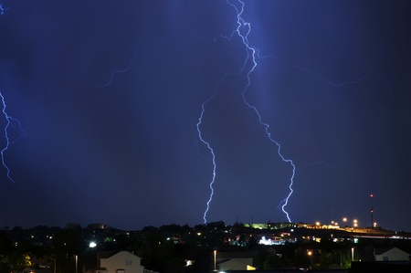 Electric Storm Above the City  Night Stormy Sky  Severe Weather Photo Collection  photo