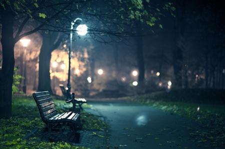 banc de parc: Une nuit dans la nuit d'automne Parc tardive dans les bancs de bois et le parc Alley horizontale Photographie de l'Europe centrale Banque d'images