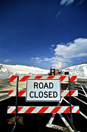 winter road: Closed Road - Road Closed - Road Maintenance Sign  Colorado U S A  Vertical Photo
