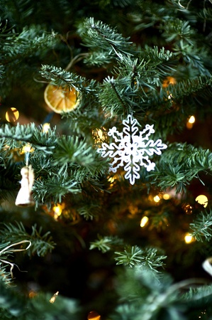 tree vertical: Christmas Tree in Closeup Vertical Photography  Christmas Decoration